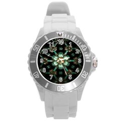 Kaleidoscope With Bits Of Colorful Translucent Glass In A Cylinder Filled With Mirrors Round Plastic Sport Watch (l) by Simbadda