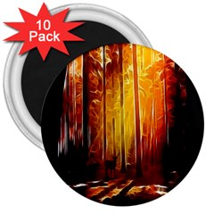 Artistic Effect Fractal Forest Background 3  Magnets (10 Pack)  by Simbadda