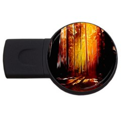 Artistic Effect Fractal Forest Background Usb Flash Drive Round (4 Gb) by Simbadda