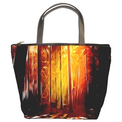 Artistic Effect Fractal Forest Background Bucket Bags by Simbadda