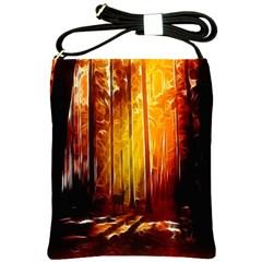 Artistic Effect Fractal Forest Background Shoulder Sling Bags by Simbadda