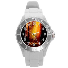 Artistic Effect Fractal Forest Background Round Plastic Sport Watch (l) by Simbadda