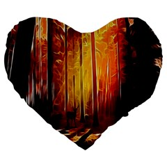 Artistic Effect Fractal Forest Background Large 19  Premium Heart Shape Cushions by Simbadda