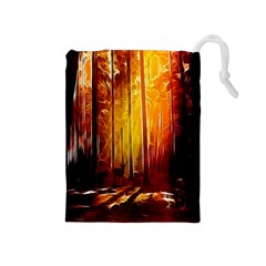 Artistic Effect Fractal Forest Background Drawstring Pouches (medium)  by Simbadda