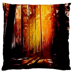 Artistic Effect Fractal Forest Background Large Flano Cushion Case (one Side) by Simbadda