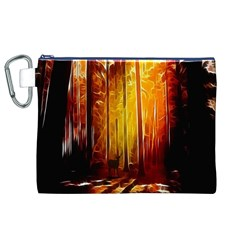 Artistic Effect Fractal Forest Background Canvas Cosmetic Bag (xl) by Simbadda