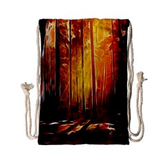 Artistic Effect Fractal Forest Background Drawstring Bag (small) by Simbadda