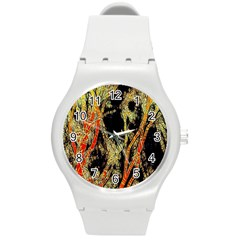 Artistic Effect Fractal Forest Background Round Plastic Sport Watch (m) by Simbadda