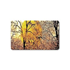 Summer Sun Set Fractal Forest Background Magnet (name Card) by Simbadda