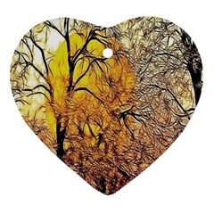 Summer Sun Set Fractal Forest Background Heart Ornament (two Sides) by Simbadda