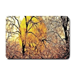 Summer Sun Set Fractal Forest Background Small Doormat  by Simbadda