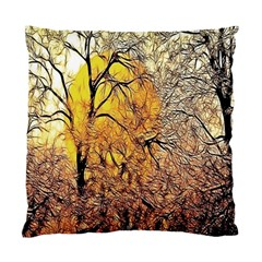 Summer Sun Set Fractal Forest Background Standard Cushion Case (two Sides) by Simbadda
