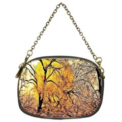 Summer Sun Set Fractal Forest Background Chain Purses (two Sides)  by Simbadda