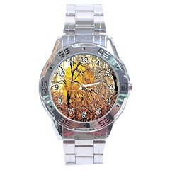 Summer Sun Set Fractal Forest Background Stainless Steel Analogue Watch by Simbadda