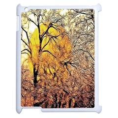 Summer Sun Set Fractal Forest Background Apple Ipad 2 Case (white) by Simbadda