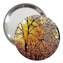 Summer Sun Set Fractal Forest Background 3  Handbag Mirrors by Simbadda