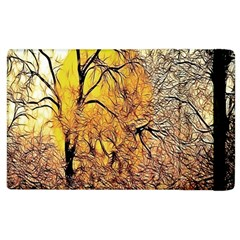 Summer Sun Set Fractal Forest Background Apple Ipad 2 Flip Case by Simbadda