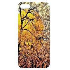 Summer Sun Set Fractal Forest Background Apple Iphone 5 Hardshell Case With Stand by Simbadda