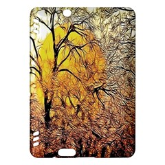 Summer Sun Set Fractal Forest Background Kindle Fire Hdx Hardshell Case by Simbadda