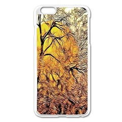 Summer Sun Set Fractal Forest Background Apple Iphone 6 Plus/6s Plus Enamel White Case by Simbadda