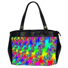 Digital Rainbow Fractal Office Handbags (2 Sides)  by Simbadda