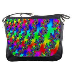 Digital Rainbow Fractal Messenger Bags by Simbadda