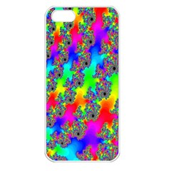 Digital Rainbow Fractal Apple Iphone 5 Seamless Case (white) by Simbadda