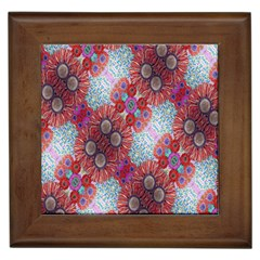 Floral Flower Wallpaper Created From Coloring Book Colorful Background Framed Tiles by Simbadda