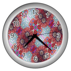 Floral Flower Wallpaper Created From Coloring Book Colorful Background Wall Clocks (silver)  by Simbadda