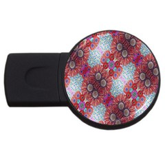 Floral Flower Wallpaper Created From Coloring Book Colorful Background Usb Flash Drive Round (2 Gb) by Simbadda