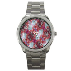 Floral Flower Wallpaper Created From Coloring Book Colorful Background Sport Metal Watch by Simbadda