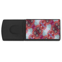 Floral Flower Wallpaper Created From Coloring Book Colorful Background Usb Flash Drive Rectangular (4 Gb) by Simbadda