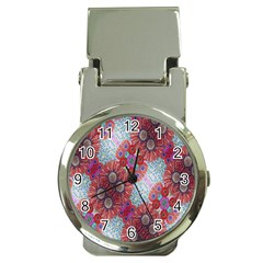 Floral Flower Wallpaper Created From Coloring Book Colorful Background Money Clip Watches by Simbadda
