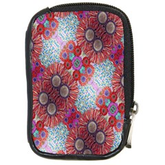 Floral Flower Wallpaper Created From Coloring Book Colorful Background Compact Camera Cases by Simbadda