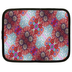 Floral Flower Wallpaper Created From Coloring Book Colorful Background Netbook Case (xl)  by Simbadda
