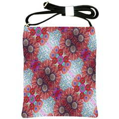 Floral Flower Wallpaper Created From Coloring Book Colorful Background Shoulder Sling Bags by Simbadda