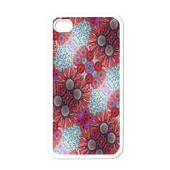 Floral Flower Wallpaper Created From Coloring Book Colorful Background Apple Iphone 4 Case (white)