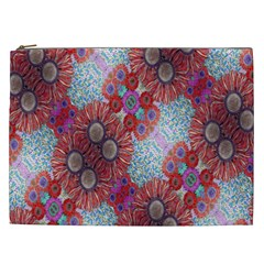 Floral Flower Wallpaper Created From Coloring Book Colorful Background Cosmetic Bag (xxl)  by Simbadda