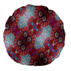 Floral Flower Wallpaper Created From Coloring Book Colorful Background Large 18  Premium Round Cushions by Simbadda