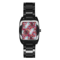 Floral Flower Wallpaper Created From Coloring Book Colorful Background Stainless Steel Barrel Watch by Simbadda