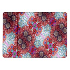 Floral Flower Wallpaper Created From Coloring Book Colorful Background Samsung Galaxy Tab 10 1  P7500 Flip Case by Simbadda
