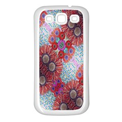 Floral Flower Wallpaper Created From Coloring Book Colorful Background Samsung Galaxy S3 Back Case (white) by Simbadda