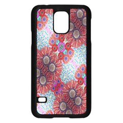 Floral Flower Wallpaper Created From Coloring Book Colorful Background Samsung Galaxy S5 Case (black) by Simbadda