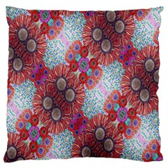 Floral Flower Wallpaper Created From Coloring Book Colorful Background Large Flano Cushion Case (two Sides) by Simbadda