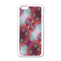 Floral Flower Wallpaper Created From Coloring Book Colorful Background Apple Iphone 6/6s White Enamel Case by Simbadda
