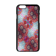 Floral Flower Wallpaper Created From Coloring Book Colorful Background Apple Iphone 6/6s Black Enamel Case by Simbadda