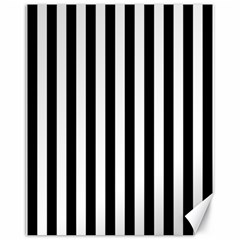 Large Black and White Cabana Stripe Canvas 11  x 14   by PodArtist
