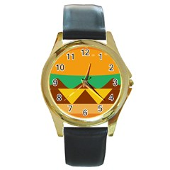 Hamburger Bread Food Cheese Round Gold Metal Watch by Simbadda