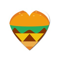 Hamburger Bread Food Cheese Heart Magnet by Simbadda