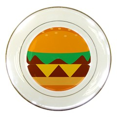 Hamburger Bread Food Cheese Porcelain Plates by Simbadda